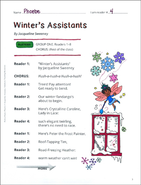 Winter's Assistants: Winter Poetry Playlet - Printable Worksheet