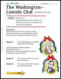 The Washington-Lincoln Chat: Winter Poetry Playlet - Printable Worksheet