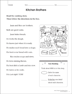 Kitchen Brothers: Close Reading Passage - Printable Worksheet