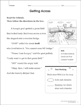 Getting Across: Close Reading Passage - Printable Worksheet