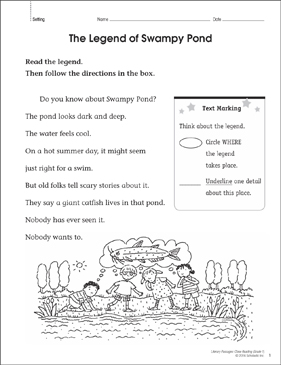 The Legend of Swampy Pond: Close Reading Passage - Printable Worksheet
