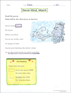 Never Mind, March: Close Reading Passage - Printable Worksheet