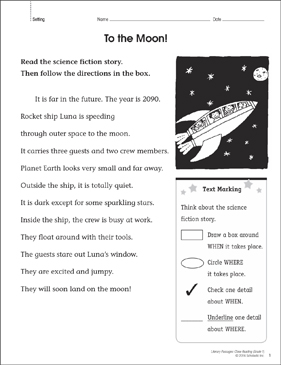 To the Moon! Close Reading Passage - Printable Worksheet