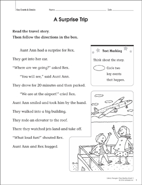 A Surprise Trip: Close Reading Passage - Printable Worksheet