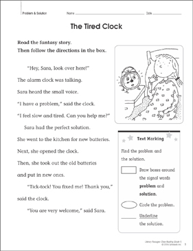 The Tired Clock: Close Reading Passage - Printable Worksheet