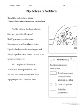 Pip Solves a Problem: Close Reading Passage - Printable Worksheet