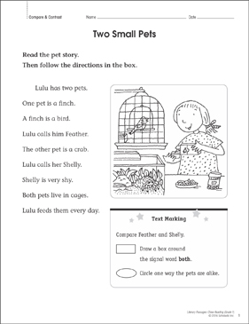 Two Small Pets: Close Reading Passage - Printable Worksheet