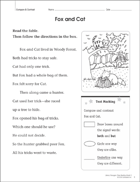 Fox and Cat: Close Reading Passage - Printable Worksheet