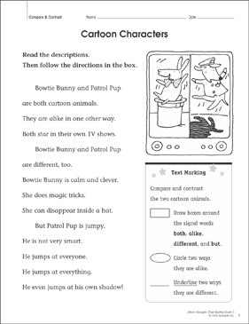 Cartoon Characters: Close Reading Passage - Printable Worksheet