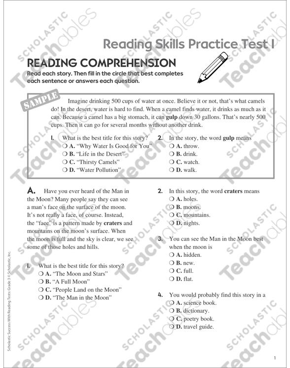 Reading Skills Practice Test 1 Grade 3 Printable Test Prep