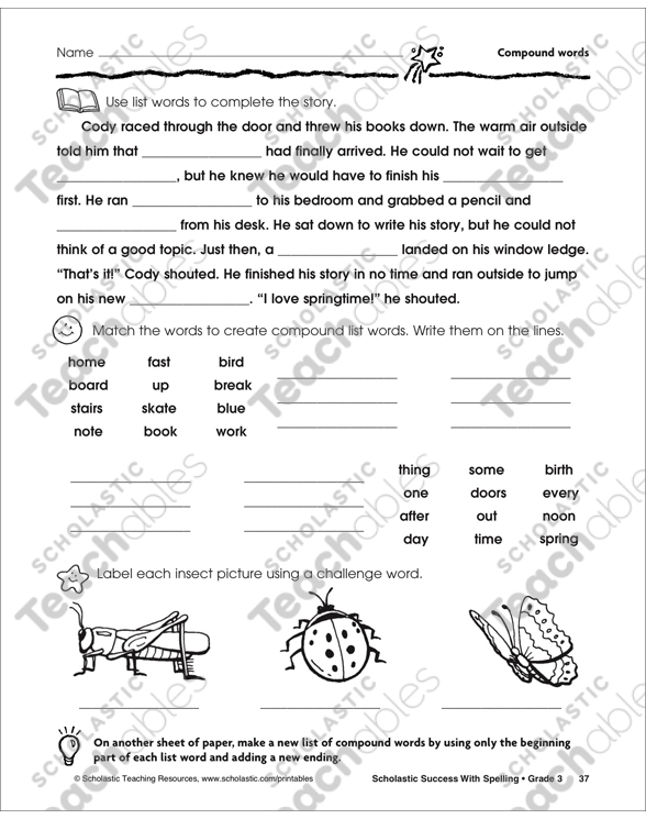 It's Springtime! (Compound Words) | Printable Skills Sheets