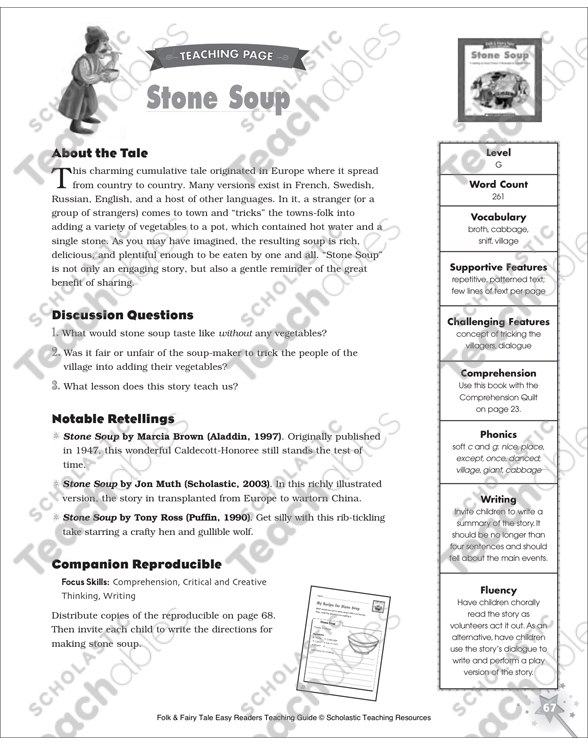 Stone Soup Mini Book Activities Printable Graphic