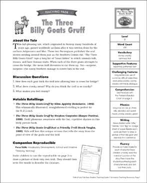 Three Billy Goats Gruff: Lesson Plan & Activities - Printable Worksheet