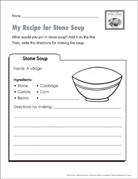 Stone Soup: Lesson Plan & Activities - Printable Worksheet
