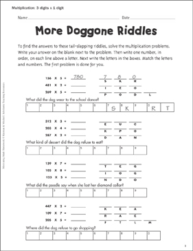 graphic about Printable Riddles named A lot more Doggone Riddles (3 Digits x 1 Digit) Printable Expertise