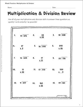 multiplication division review printable skills sheets. Black Bedroom Furniture Sets. Home Design Ideas