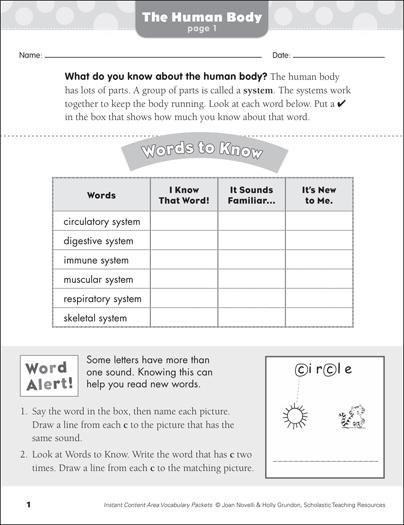 The Human Body: Science Vocabulary   Printable Skills Sheets