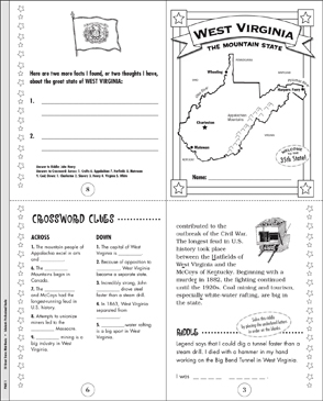 The Great State Of West Virginia Printable Mini Books