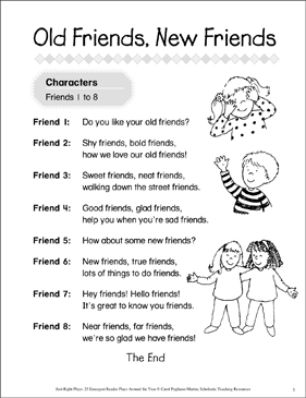 Old Friends, New Friends: An Emergent Reader Play - Printable Worksheet