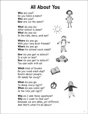 All About You (Question Words): Sight Words Poem | Printable Skills