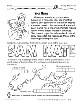 picture about Printable Main Idea Games identify Your Status (Acquiring the Most important Concept) Printable Abilities Sheets