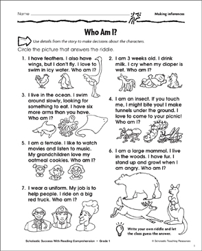 photograph about Printable Inference Games named Who Am I? (Producing Inferences) Printable Techniques Sheets