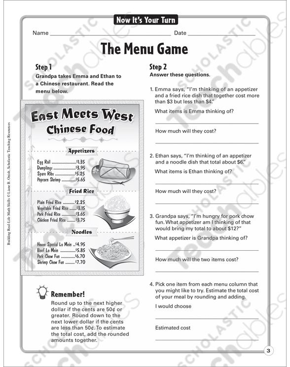 The Menu Game (Estimating/Rounding): Building Real-Life Math Skills ...