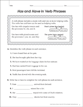 Has & Have in Verb Phrases: Grammar Practice Page