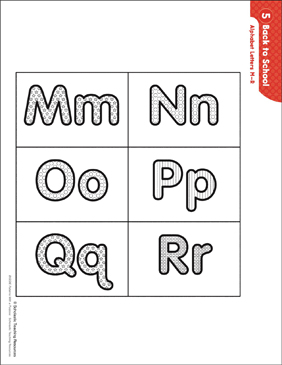 Back to School - Alphabet Letters M-R (Pattern & Activities) - Printable Worksheet