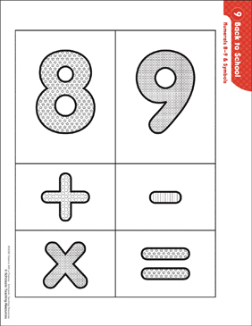 Numerals 8-9 & Symbols (Pattern & Activities) - Printable Worksheet