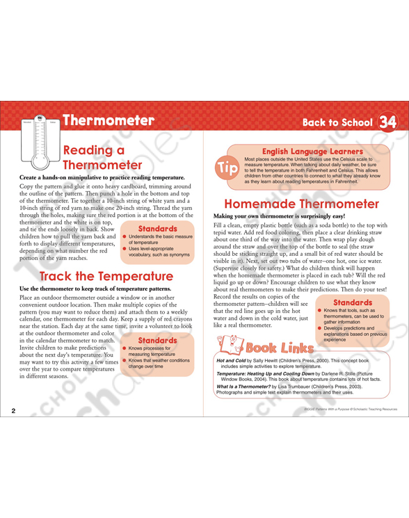 Thermometer Pattern Activities Printable Lesson Plans Ideas