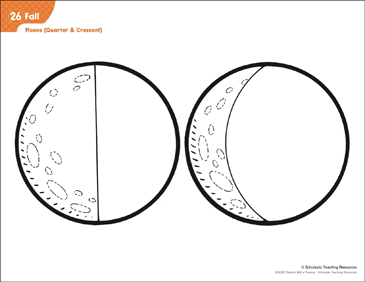 Moon (Quarter & Crescent): Moons - Quarter & Crescent (Pattern & Activities) - Printable Worksheet