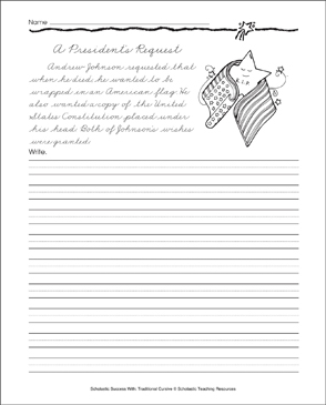 a president 39 s request traditional cursive practice page printable skills sheets. Black Bedroom Furniture Sets. Home Design Ideas