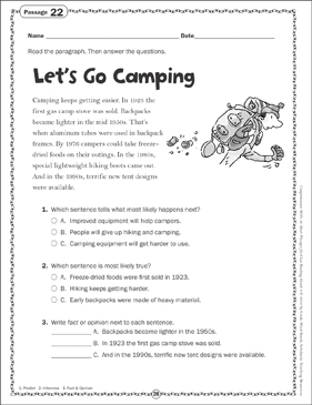 Let S Go Camping Close Reading Passage Printable Skills