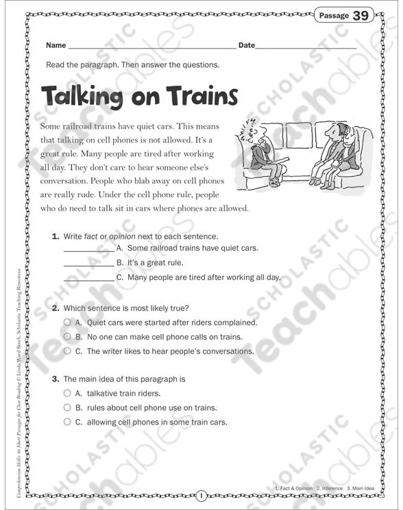 Talking on Trains: Close Reading Passage | Printable Skills