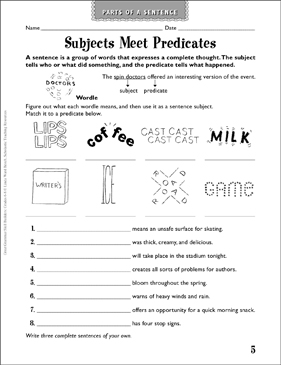 Subjects Meet Predicates (Parts of a Sentence) - Printable Worksheet