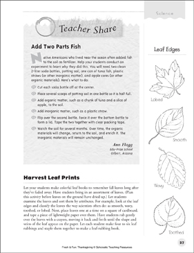 Science Activities: Fresh & Fun Thanksgiving - Printable Worksheet
