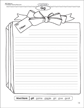 The gift (Letter Gg): Alphabet Stationery - Printable Worksheet