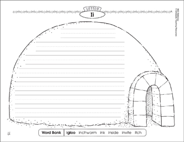 The igloo (Letter Ii): Alphabet Stationery - Printable Worksheet