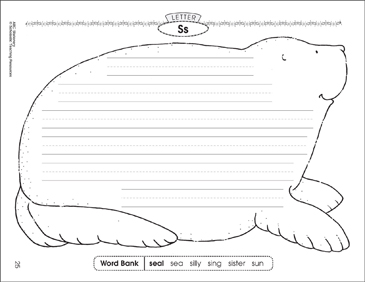 The seal (Letter Ss): Alphabet Stationery - Printable Worksheet