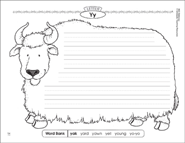The yak (Letter Yy): Alphabet Stationery - Printable Worksheet