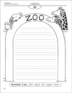 The zoo (Letter Zz): Alphabet Stationery - Printable Worksheet