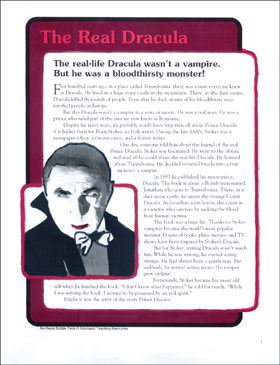 The Real Dracula: Nonfiction Passage and Short Test - Printable Worksheet