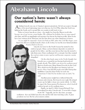 Abraham Lincoln: Nonfiction Passage and Short Test - Printable Worksheet