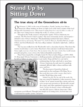 Stand Up by Sitting Down: Nonfiction Passage and Short Test - Printable Worksheet