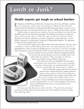 Lunch or Junk?: Nonfiction Passage and Short Test - Printable Worksheet