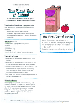 The First Day of School: Early Learning Activity - Printable Worksheet