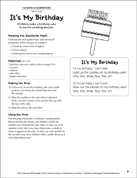 It's My Birthday: Early Learning Activity - Printable Worksheet