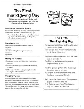 The First Thanksgiving Day: Puppet-Making Activity - Printable Worksheet