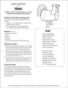 Hide! Thanksgiving Poem and Puppet - Printable Worksheet